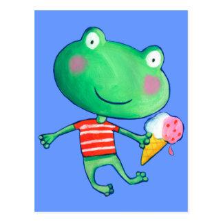niedlicher Frosch und Eiscreme Postkarte