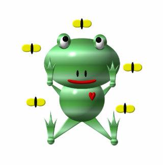 Niedlicher Frosch und Fliegen! Freistehende Fotoskulptur