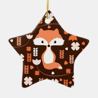 Niedlicher Fuchs, Blumen und Blätter in der Orange Keramik Stern-Ornament