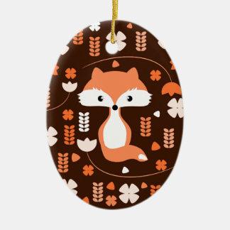 Niedlicher Fuchs, Blumen und Blätter in der Orange Ovales Keramik Ornament