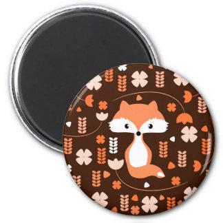 Niedlicher Fuchs, Blumen und Blätter in der Orange Runder Magnet 5,7 Cm