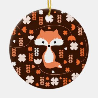 Niedlicher Fuchs, Blumen und Blätter in der Orange Rundes Keramik Ornament
