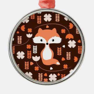 Niedlicher Fuchs, Blumen und Blätter in der Orange Rundes Silberfarbenes Ornament