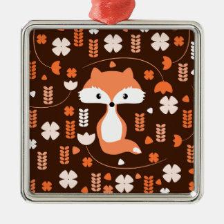 Niedlicher Fuchs, Blumen und Blätter in der Orange Silbernes Ornament
