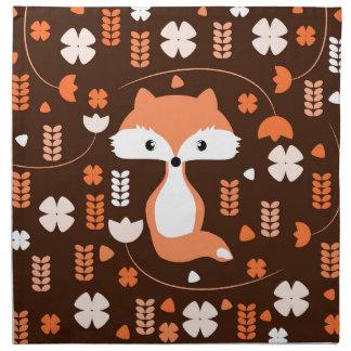 Niedlicher Fuchs, Blumen und Blätter in der Orange Stoffserviette