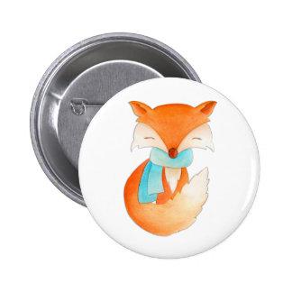 Niedlicher Fuchs eingewickelt herauf Runder Button 5,7 Cm