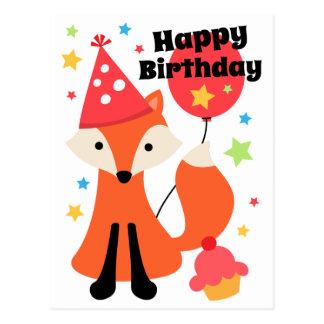 Niedlicher Fuchs mit alles Gute zum Geburtstag des Postkarte