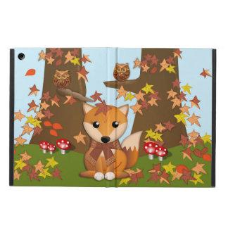 Niedlicher Fuchs und Eule im Herbst