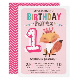 Niedlicher Geburtstag Prinzessin-Baby Fox Pink 12,7 X 17,8 Cm Einladungskarte