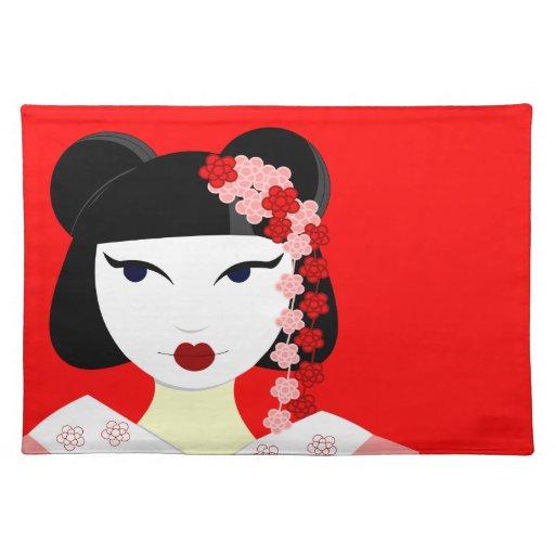 Niedlicher Geisha mit Blumen - Rot Tisch Sets