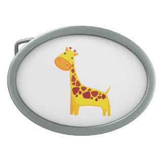 Niedlicher Giraffen-Cartoon Ovale Gürtelschnallen