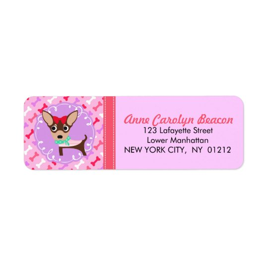 Niedlicher Girly Chihuahua-rosa u. lila Muster Rücksendeetiketten