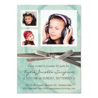 Niedlicher Girly Foto-Mädchen-Bonbon 16 des Aqua-3 11,4 X 15,9 Cm Einladungskarte