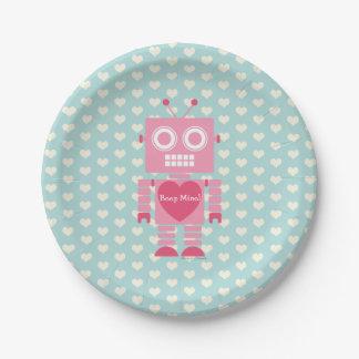Niedlicher Girly Roboter Pappteller