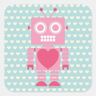 Niedlicher Girly Roboter Quadratischer Aufkleber