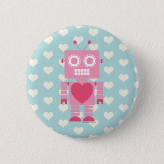 Niedlicher Girly Roboter Runder Button 5,1 Cm