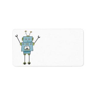 Niedlicher glücklicher blauer Roboter-freier Raum Adressaufkleber