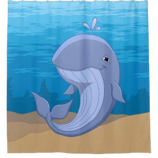 Niedlicher glücklicher Blauwal im Ozean Duschvorhang