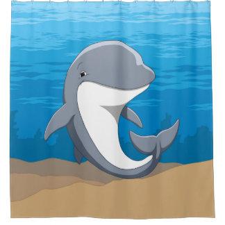 Niedlicher glücklicher Bottlenose-Delphin im Ozean Duschvorhang