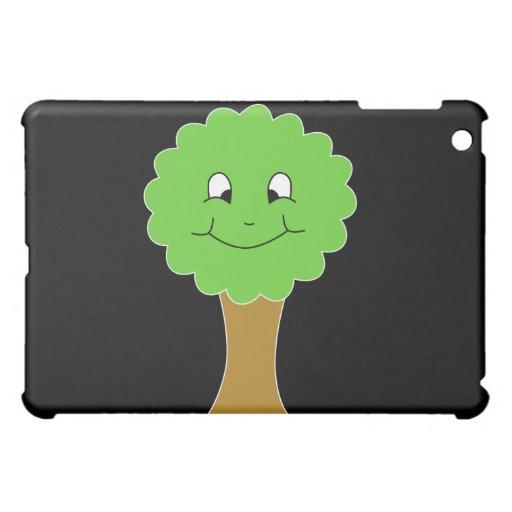 Niedlicher glücklicher grüner Baum. Auf Schwarzem iPad Mini Cover