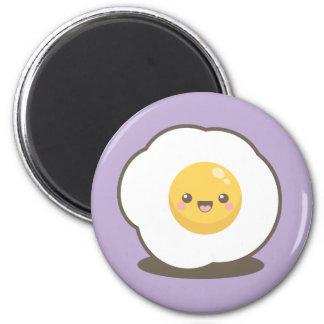 Niedlicher glücklicher Kawaii Spiegelei-Magnet Runder Magnet 5,1 Cm