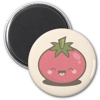 Niedlicher glücklicher Kawaii Tomate-Magnet Runder Magnet 5,7 Cm