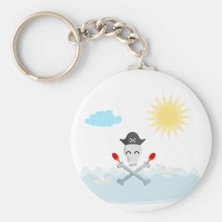 Niedlicher glücklicher Piraten-Schädel mit Maracas Schlüsselanhänger