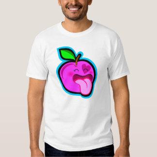 Niedlicher glücklicher rosa Apfel-Cartoon im T-Shirts