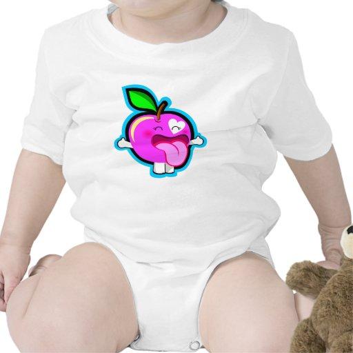 Niedlicher glücklicher rosa Apfel für Baby Strampelanzug