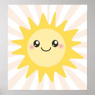 Niedlicher glücklicher Sun Posterdruck