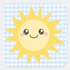Niedlicher glücklicher Sun Quadratischer Aufkleber