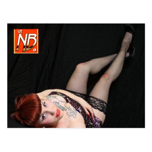 Niedlicher Goth RedheadPinup Postkarte