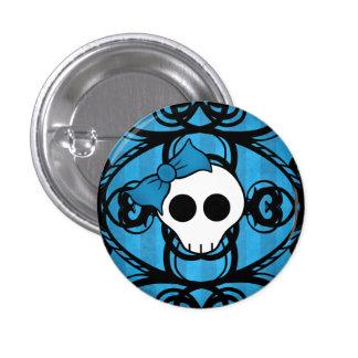 Niedlicher gotischer Schädel auf Blau und Runder Button 3,2 Cm