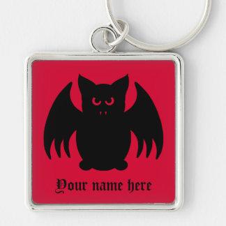 Niedlicher gotischer schwarzer Vampireschläger Silberfarbener Quadratischer Schlüsselanhänger