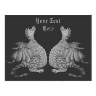 niedlicher grauer Drache mythisch und Postkarte