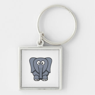 Niedlicher grauer Elefant für Kinder alles Alters  Silberfarbener Quadratischer Schlüsselanhänger