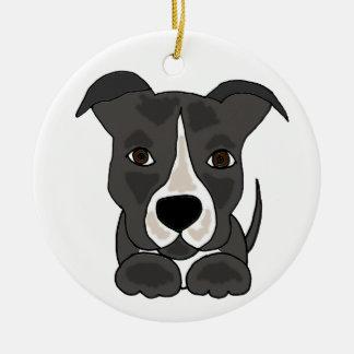 Niedlicher grauer Pitbull Welpen-Hund Keramik Ornament
