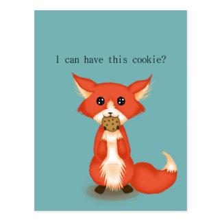 Niedlicher großer mit Augen Fox, der ein Plätzchen Postkarte