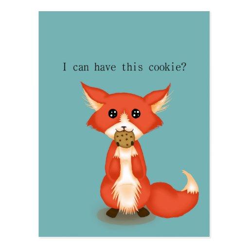 Niedlicher großer mit Augen Fox, der ein Plätzchen Postkarten