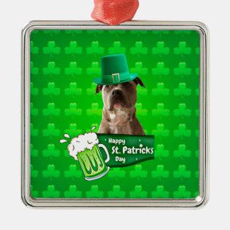 Niedlicher Gruben-Stier-Hundehut-St Patrick Klee Quadratisches Silberfarbenes Ornament