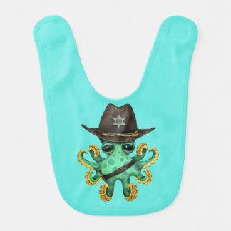 Niedlicher grüner Baby-Kraken-Sheriff Babylätzchen
