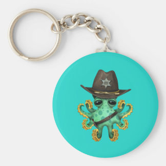 Niedlicher grüner Baby-Kraken-Sheriff Schlüsselanhänger