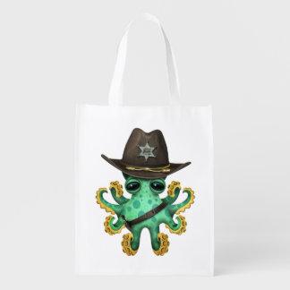 Niedlicher grüner Baby-Kraken-Sheriff Wiederverwendbare Einkaufstasche