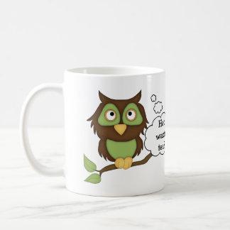 Niedlicher grüner Eule-Tee Kaffeetasse