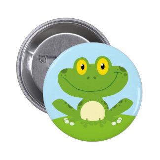 Niedlicher grüner Frosch Runder Button 5,7 Cm