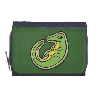 Niedlicher grüner und gelber Alligator, der