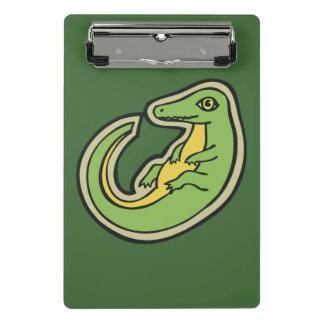 Niedlicher grüner und gelber Alligator, der Mini Klemmbrett