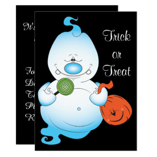 Niedlicher Halloween-Geist-Cartoon Karte