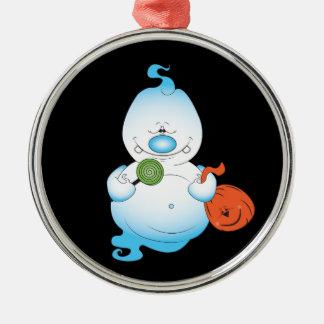 Niedlicher Halloween-Geist-Cartoon Rundes Silberfarbenes Ornament