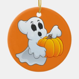Niedlicher Halloween-Geist mit Kürbis Keramik Ornament